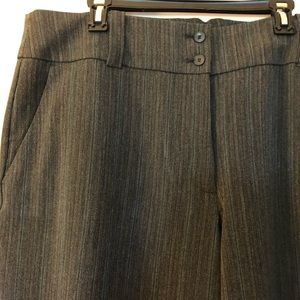 Wide-leg trousers, gray with teal stripe EUC 22